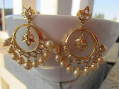On Sale Uncut CZ Chandbalis with Pearls Indian Jewelry Ear Rings, Indian Jewelry, Gold Jewelry, Fashion Jewelry, Buy And Sell, Jewels, Green, Silver, Handmade