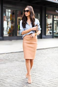 Fall Work Outfits: Glamour.com Chambray Shirt + Tan Pencil Skirt + Leopard Accessory. Would mot have thought of this, but gorgeous.
