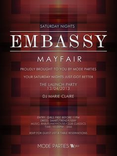 Our new weekly Saturdays at Embassy Mayfair #embassymayfair #embassy #london #modeparties