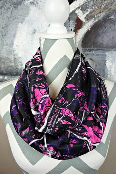 If you're looking for the perfect accessory this scarf made out of #muddygirl fabric is a must for Spring! #camo #pinkcamo #fashion #scarf