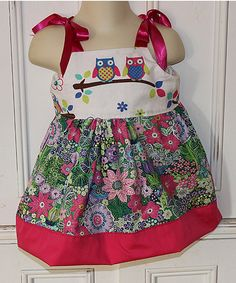 Pink & Green Floral Owls Dress - Infant & Toddler by Petite & Posh #zulily #zulilyfinds