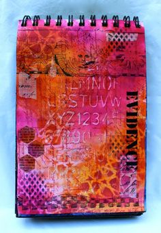 Kemper art journal evidence 1 of 2 Dylusions Ink Sprays, Stencils from Tim Holtz and StencilGirl Products, Modeling Paste