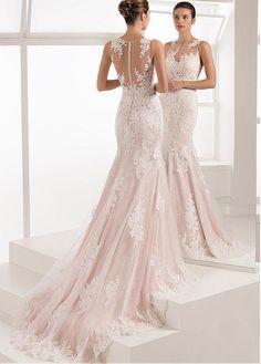 8d1d7cb4985f Magbridal Romantic Tulle   Lace Jewel Neckline Mermaid Wedding Dress With  Lace Appliques. Aire BarcelonaVestito IllusionistaAbiti Da SposaStili ...