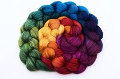 Spinning Fiber Roving Hand Painted 50/50 by zebisisdesigns on Etsy  Makes me think of Sarah Flannagan.