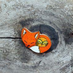 Брошь Лиса и сова (ручная роспись, оранжевый) - оранжевый, лиса, сова, handmade brooch