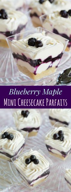 Blueberry Maple Mini Cheesecake Parfaits - an easy no-bake dessert recipe perfect for parties with a gluten free almond meal crust and @WymansofMaine frozen wild blueberries. #AD