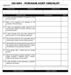 Internal Quality Management System Audit Checklist Iso 9001:2015 ...