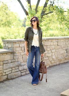@roressclothes clothing ideas #women fashion khaki jacket, white blouse, jeans