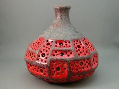 Vintage pottery in red & grey