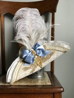 Tricorn Hat Costume Ivory Champagne Gold Lace Blue Satin | Etsy Blue Satin, Satin Bows, Baroque, Rococo, Victorian Hats, Costume Patterns, Brocade Fabric, Heirloom Sewing, Ostrich Feathers