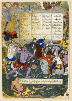 An illustrated and illuminated leaf from a manuscript of Firdausi's Shahnameh: Hushang Killing the Black Demon, Persia, Safavid, Qazvin or Mashhad, 988 AH/1580 AD gouache heightened with gold on polished paper, 9 lines of text in black nasta'liq script within 4 columns,