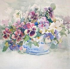 pansies, watercolor by Hillary Bravo