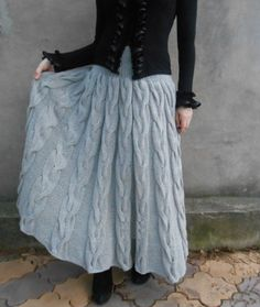 Vintage Skirt A-Line Knitted Gray Skirts Plus Size Crochet Skirts, Knit Skirt, Crochet Clothes, Diy Clothes, Knit Dress, Dress Skirt, Knitwear Fashion, Knit Fashion, Skirt Tutorial