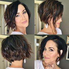 Haircuts For Wavy Hair, Short Hair Cuts, Short Inverted Bob Haircuts, Curly Inverted Bob, Short Textured Haircuts, Short Asymmetrical Hairstyles, Short Textured Bob, Edgy Short Hair, Choppy Bob Hairstyles