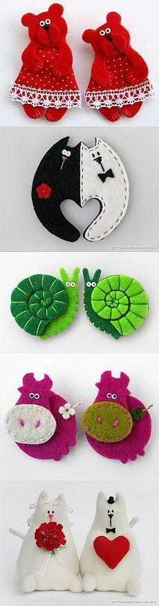 Красивые игрушки из фетра.: