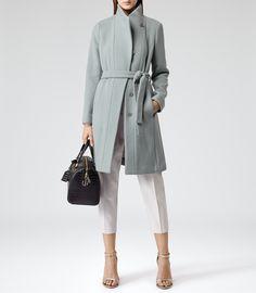 Womens Dark Mint Slim-fit Belted Coat - Reiss Alsace