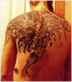 Tribal Biomechanical Tattoo Design For Men On Back, biomechanical tattoo, biomechanical tattoos ~ Look My Tattoo