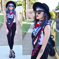 """Kaicee on Instagram: """"Lookin' a bit hipster today with my favourite scarf! Top, scarf & pants from @supre_instagram Tap for more details!  #me#ootd#scarf#aztec#tassels#leggings#backpack#leather#pompom#fedora#cateyesunglasses#redlipstick#laceupshoes#platforms#bluehair#purplehair#tattoo#ink#hipster#indie#edgy#grunge#alternative#fashion#fashionblogger#nutkaic"""""""