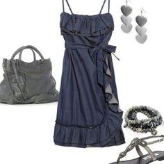 Dark blue jean dress