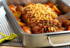 Onion-Crusted Meatloaf with Roasted Potatoes