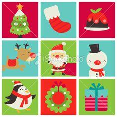 Retro Cute Christmas Tiles Illustration