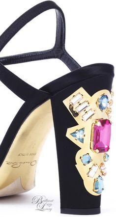 Brilliant Luxury ♦ Oscar de la Renta 'Lemmy' Black Satin Sandals with embellished Heel