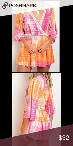 Orange and Pink Tie Dye Romper This adorable pink and orange tie-dyed romper features flowing sleeves, fully lined shorts, and a cute mesh inlet around the waist and bust. Boutique  Dresses Mini