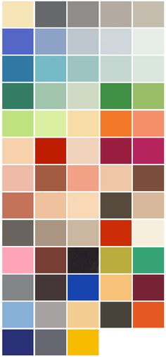 Here you see the 63 colours from the colour palettes LC 32 and LC 43 by Le Corbusier