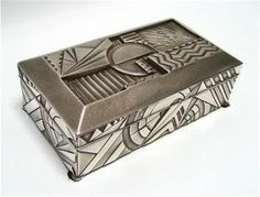 Decorative Boxes : Geometric Art Deco Box, Silver plated white metal, wood lined Sally Shell design Japan, c. 1920 -Read More – - #DecorativeBoxes https://decorobject.com/decorative-objects/decorative-boxes/decorative-boxes-geometric-art-deco-box-silver-plated-white-metal-wood-lined-sally-shell-design/