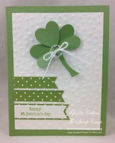 St. Patrick's Day card, Stampin' Up! Shamrock punch art www.thestampcamp.com