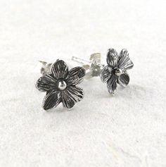 Sterling Silver Five Petal Flower Post Earrings