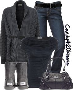 """I really love charcoal gray. And though Ugg boots seem really comfy, for this outfit, I think they are a poor choice and kind of stick out like a sore thumb.    """"Untitled #331"""" by candy420kisses on Polyvore"""