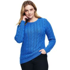 Lands' End Women's Plus Size Cotton Sweater - Drifter ($69) ❤ liked on Polyvore featuring plus size women's fashion, plus size clothing, plus size tops, plus size sweaters, blue, plus size cable knit sweaters, patterned sweater, cotton cable sweater and cotton crewneck sweater