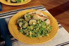 Lemon Roasted Whole Chicken w/ Banana Peppers, Onions, and Zucchini + Brussels Sprout Salad l Steve Harvey Show | Healthy Comfort Food