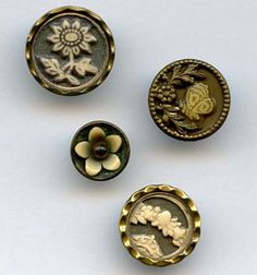 SOLD: Ivoroid floral and butterfly buttons celluloid Ivoroid antique buttons