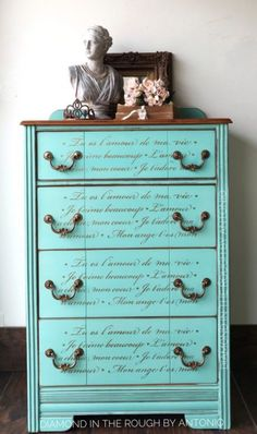1940's dresser painted in a custom teal aqua color & stenciled with French script. By Diamond In The Rough by Antonio Machado, Killeen / West Lakes Hills TX. Etsy: Diamondintheroughyx. FB: diamondintheroughbyantonio. ~ SAOU/Diamond $600