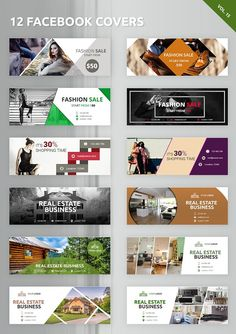 12 Facebook Covers by Creatricks on @creativemarket Creative Facebook Cover, Facebook Cover Design, Facebook Cover Template, Covers Facebook, Ads Creative, Banner Design Inspiration, Web Banner Design, Web Design, Web Banners