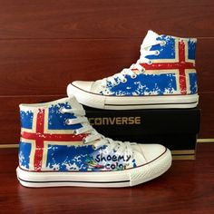 Men Women Converse Shoes Iceland Flag Hand Painted Canvas Sneakers