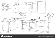 Resultado de imagen para DIBUJO DE COCINA Diagram, Floor Plans, Houses, Dibujo, Cuisine, House Floor Plans