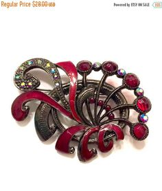 Red Rhinestone & #EnamelBrooch Swirling Design Deep Red #vogueteam