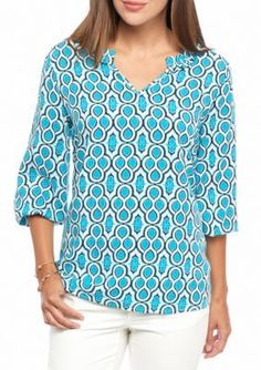 crown ivy Ruffle Neck Peasant Top