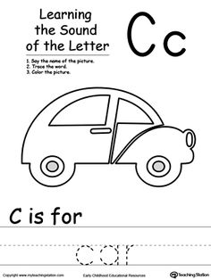 Learning Beginning Letter Sound: C: Learn the sound of the letter C by saying the name of the picture and then tracing the word. This printable worksheet is perfect for children to associate the alphabet letters with sounds.