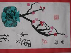 "3rd grade Chinese cherry blossom and vase collage painting;  12"" X 18""  Art teacher: Susan Joe"
