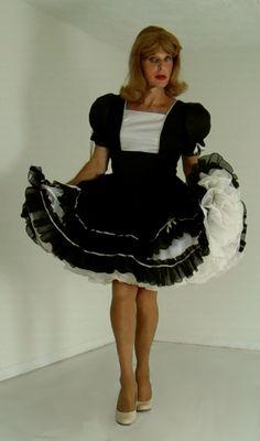 tgirl wearing square dance dress and petticoat