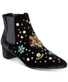 Betsey Johnson Jax Booties $89.00 A constellation of shimmering beads brings sparkle to the soft velvet silhouette of these Chelsea-style Jax booties from Betsey Johnson.