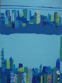 Blues and Jade Cityscape