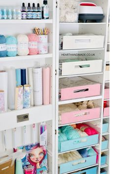 The DreamBox, available at CreateRoom (formerly The Original ScrapBox company), is a trifold storage unit full of vertically adjustable shelves, transparent tote drawers, divided door storage, hooks, and more if you like.