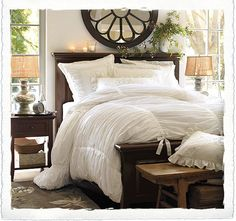 All-White Bed....ahhhh, lovely! I'm loving this idea more and more...and I Love that gathered bedspread and the dark wood.