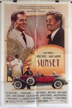 SUNSET - BRUCE WILLIS / JAMES GARNER - ORIGINAL AMERICAN ONE SHEET MOVIE POSTER