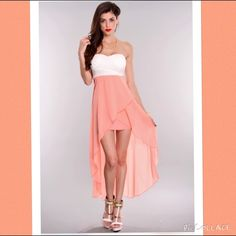 Forever 21 Skirt Peach Colored High Front - Low Back Skirt Forever 21 Skirts